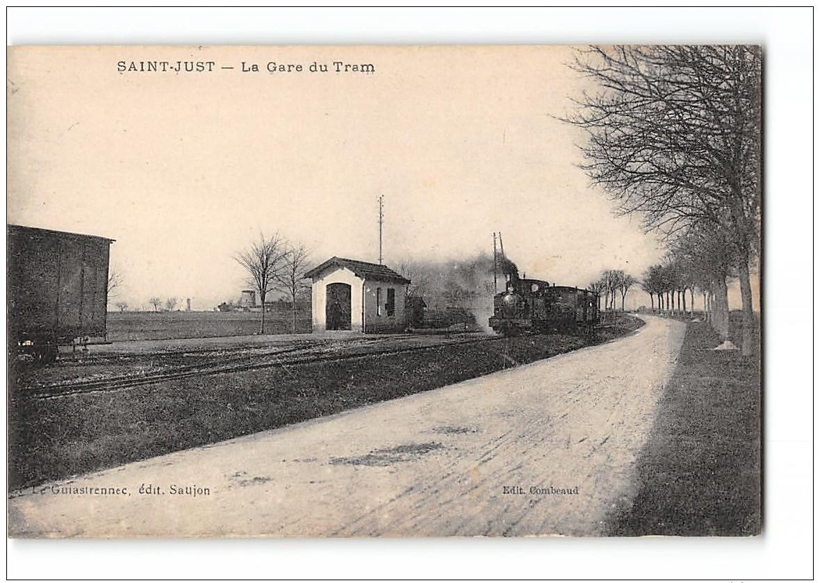 CPA 17 Saint St Just La Gare Et Le Train Tramway Ligne De St Just Saujon - France