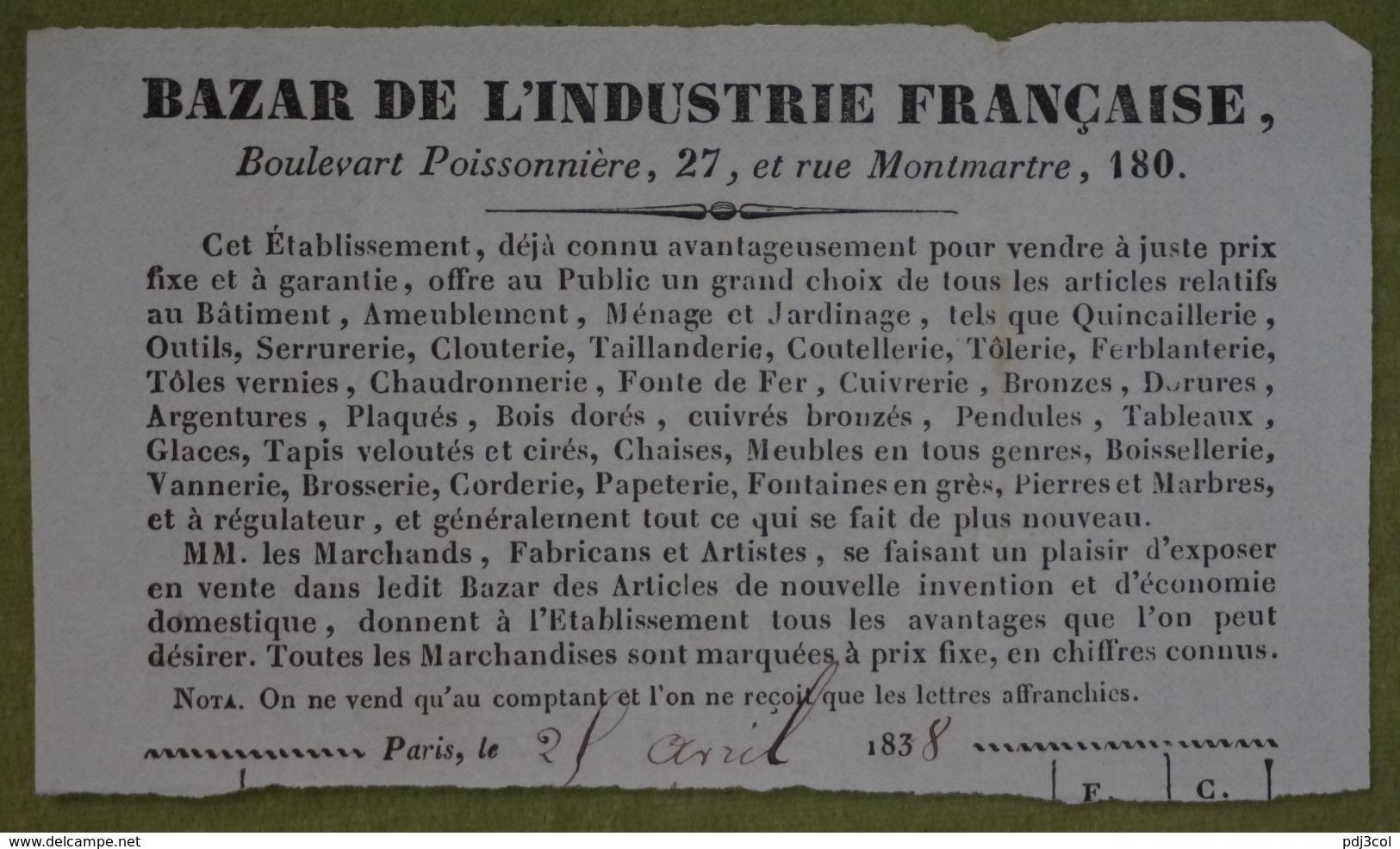 En-tête De Facture BAZAR DE L'INDUSTRIE FRANCAISE - Paris, 1838 - France