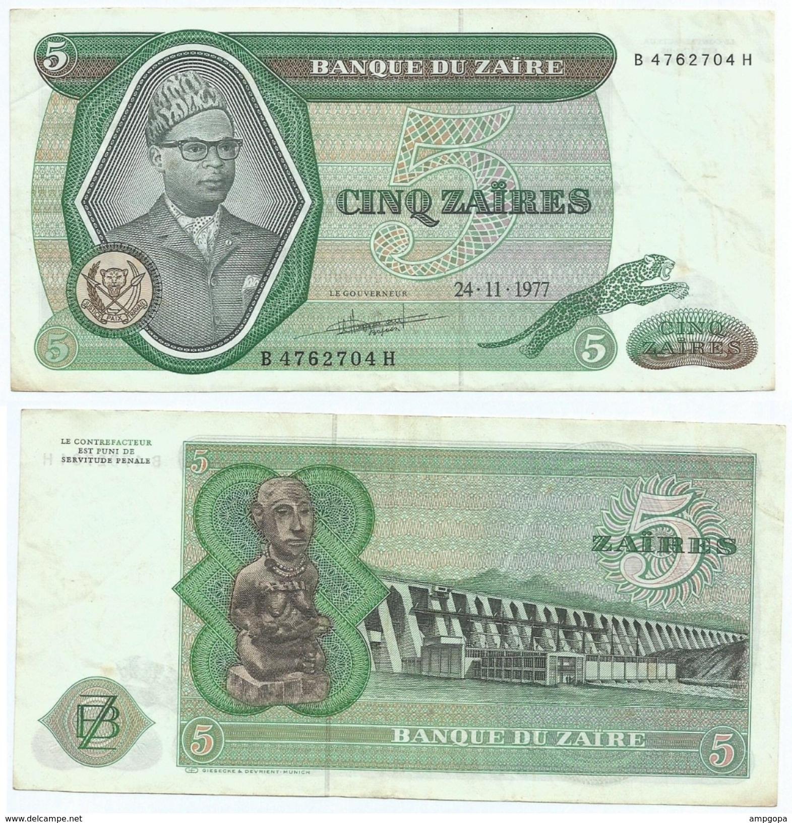 Zaire 5 Zaires 1977 Pick 21.b Ref 1305 - Zaire
