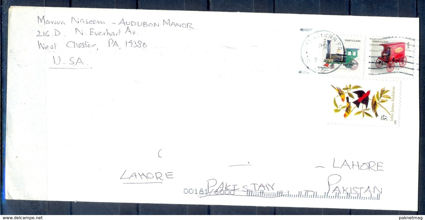 J475- Postal Used Cover. Posted From USA United State To Pakistan. Plants. Birds. Transport. - United States