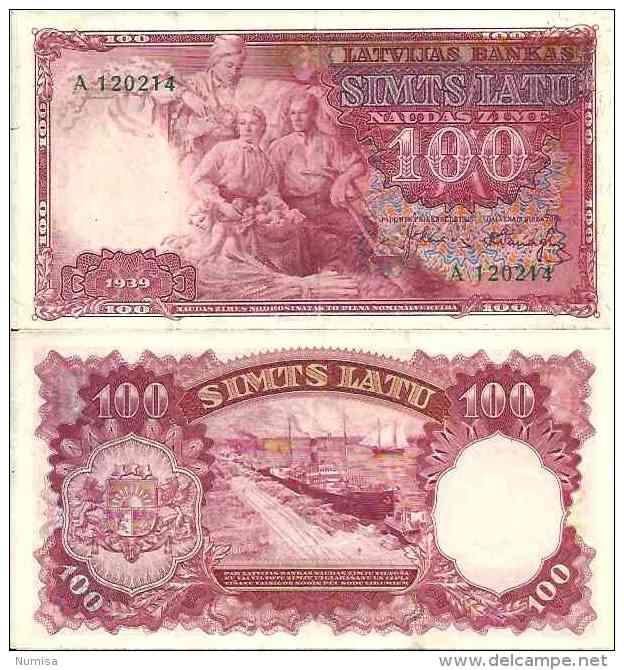 -Lettonie - Latvia - 100 LATU (1938) Pick 22 TTB (VF) - - Lettonie