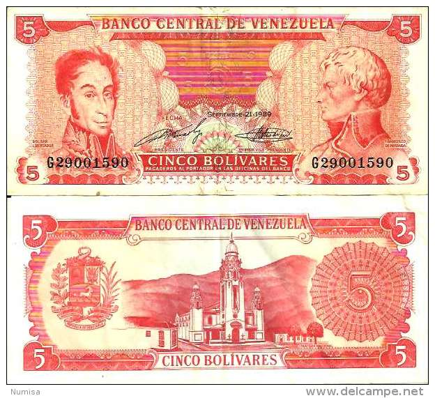 Venezuela 5 BOLIVARES 1989 - Pick 70b TTB (VF) - Venezuela