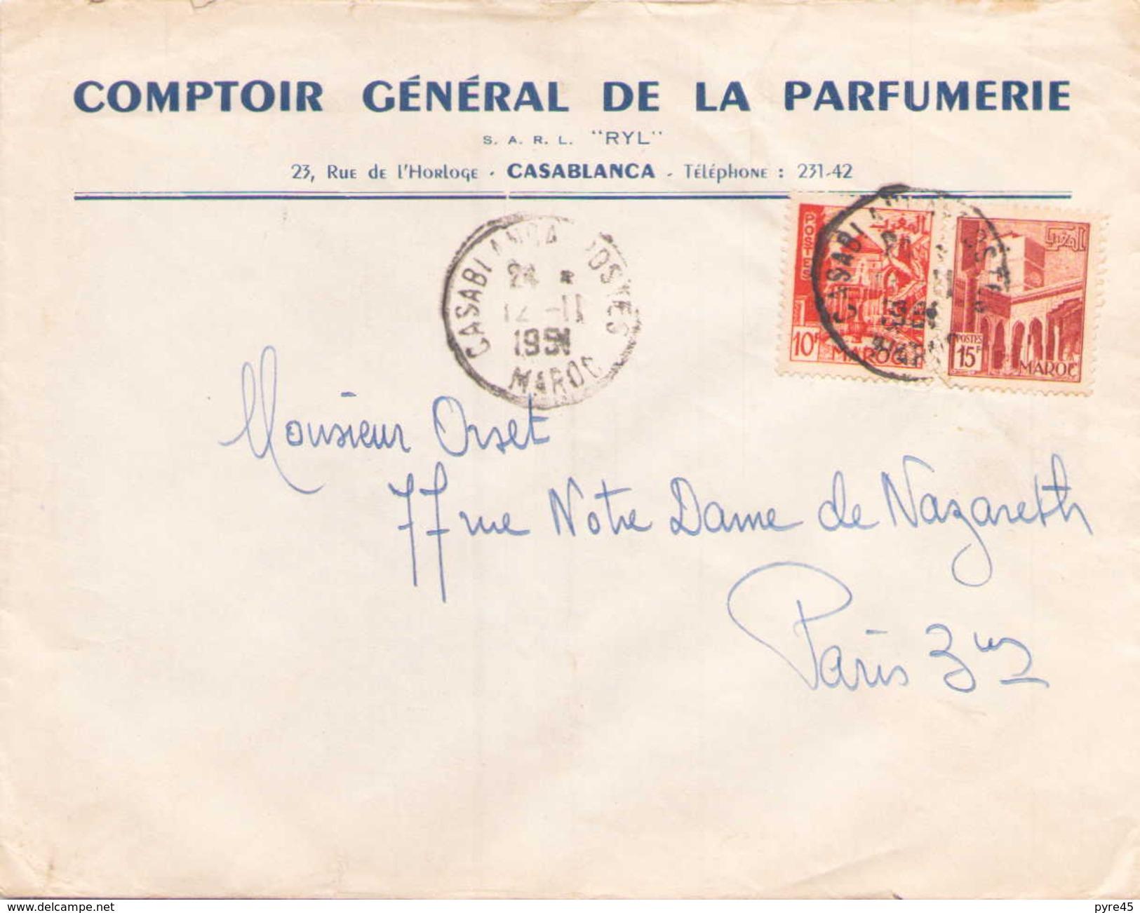 Maroc Enveloppe à En Tete Comptoir General De La Parfumerie De Casablanca Pour Paris Le 12 Novembre 1951 - Marokko (1891-1956)