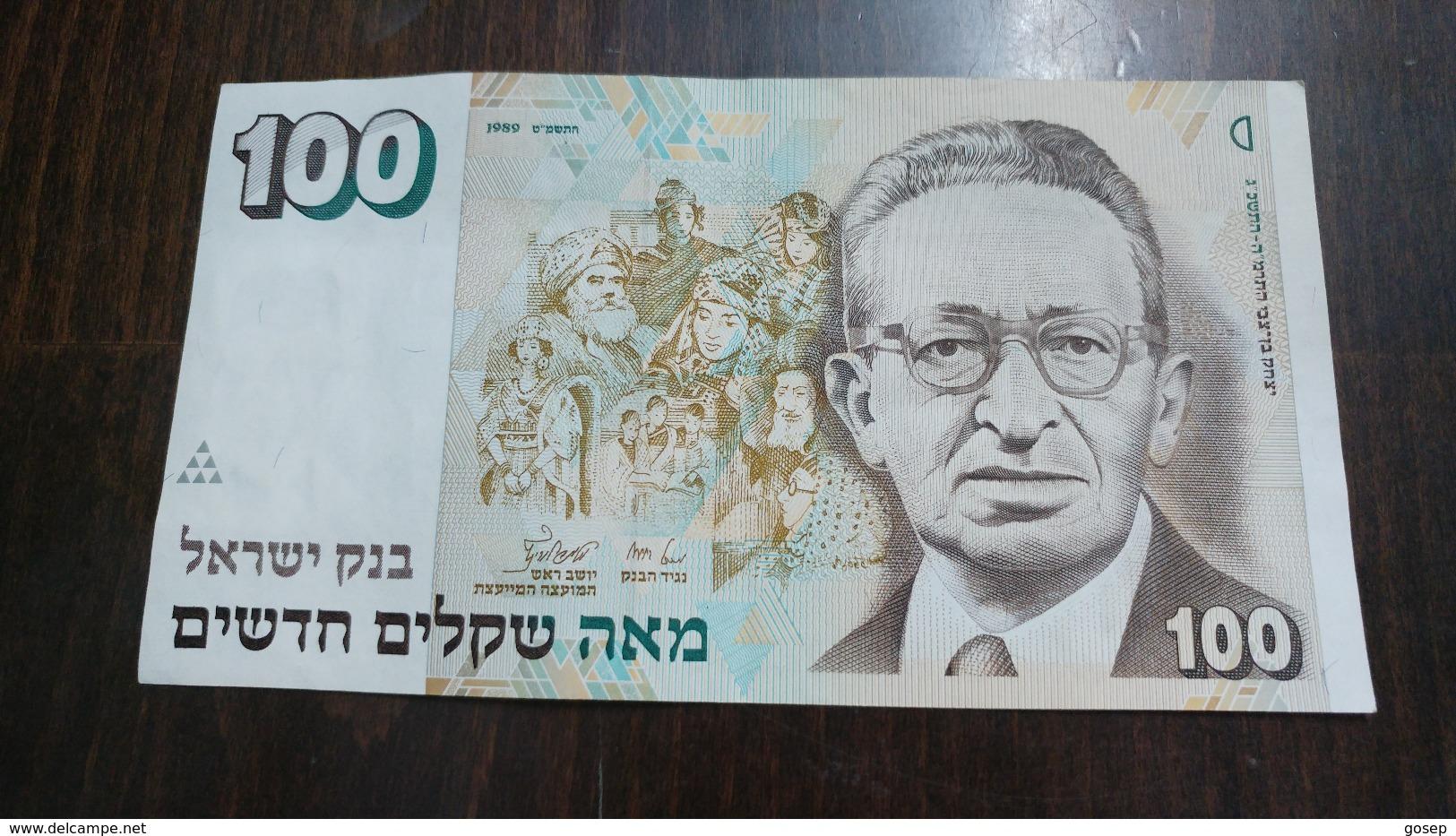 Israel-new Sheqel-seventh Issue-(1986-1995)-(100new Sheqalim Yitzhak Ben Ziv-number-1210725769)-u.n.c - Israel