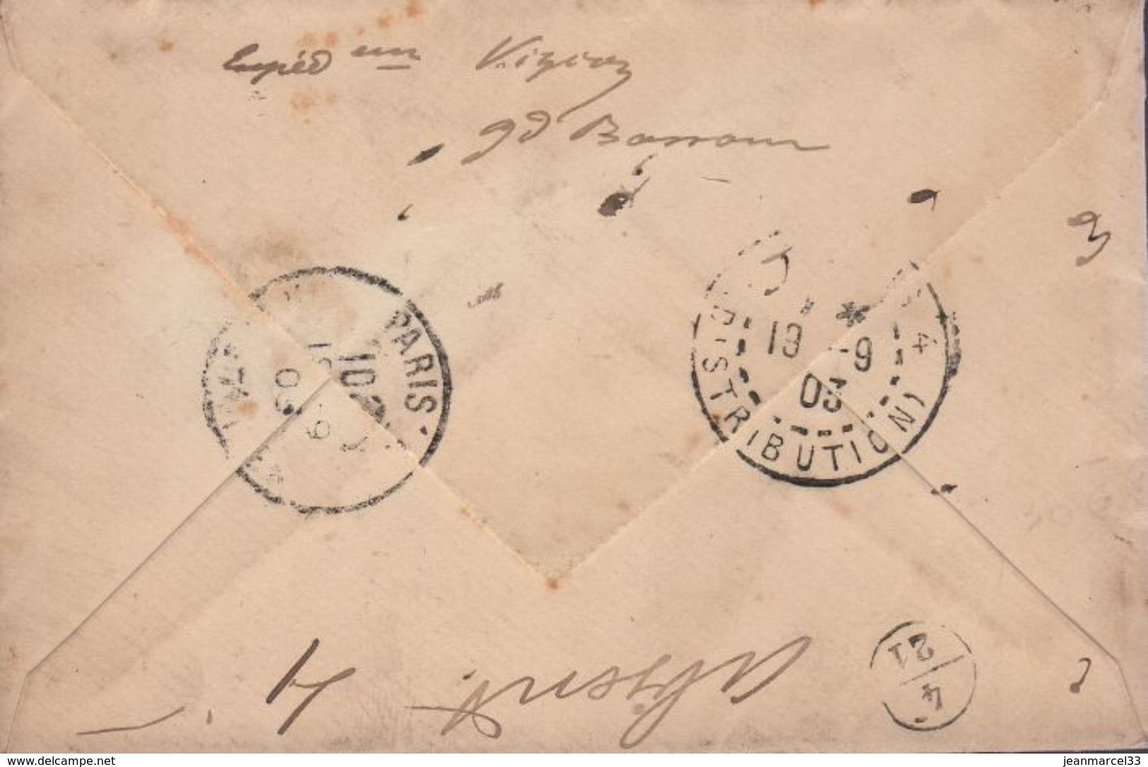 Enveloppe Recommandée Mouchon (125 Et 127) Cachet Manuel Loango A Bordeaux *L.L.N° 1 4 Sept 03 - Marcophilie (Lettres)