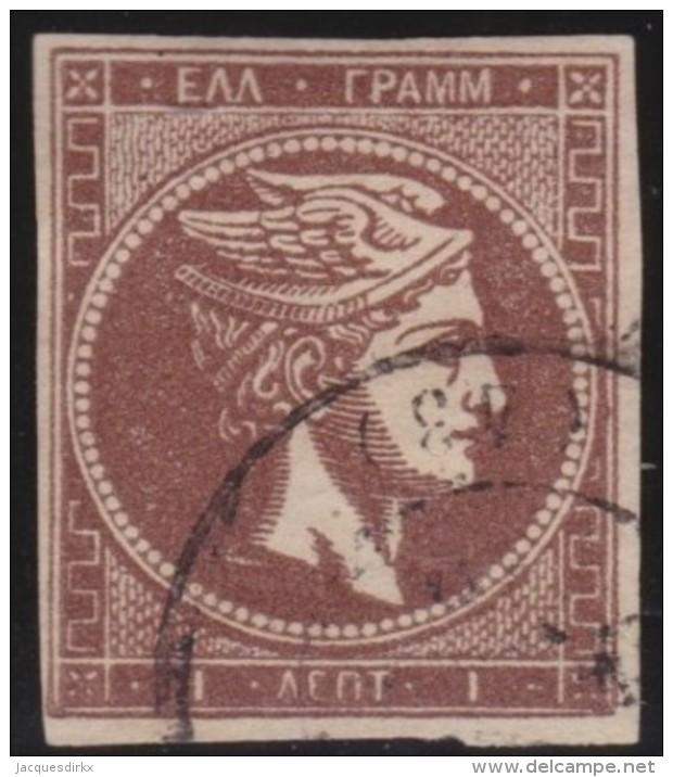 Greece    .    Yvert   .   17     .     1863-68       .   O    .   Gebruikt   .   /     .   Cancelled - 1861-86 Hermes, Groot