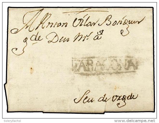 ESPAÑA. 1748 (14 Sept.). RIUDOMS A SEU DE URGELL. Marca TARRAGONA (nº 4). MUY RARA. - Stamps