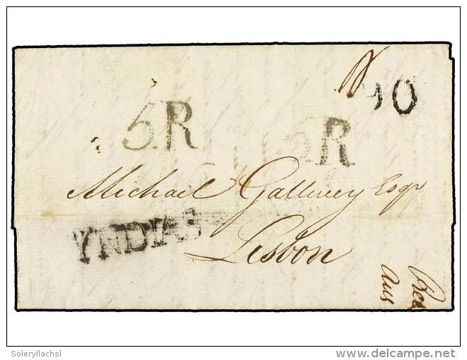 ESPAÑA: PREFILATELIA. 1822. SANTA CRUZ DE TENERIFE A LISBOA. Circulada Vía CÁDIZ Marca... - Stamps