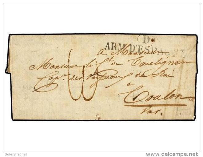 ESPAÑA: PREFILATELIA. (1823 CA.). VILLALBA (Navarra) A FRANCIA. Marca (D)/ARM. D´ESPAGNE. Carta... - Stamps