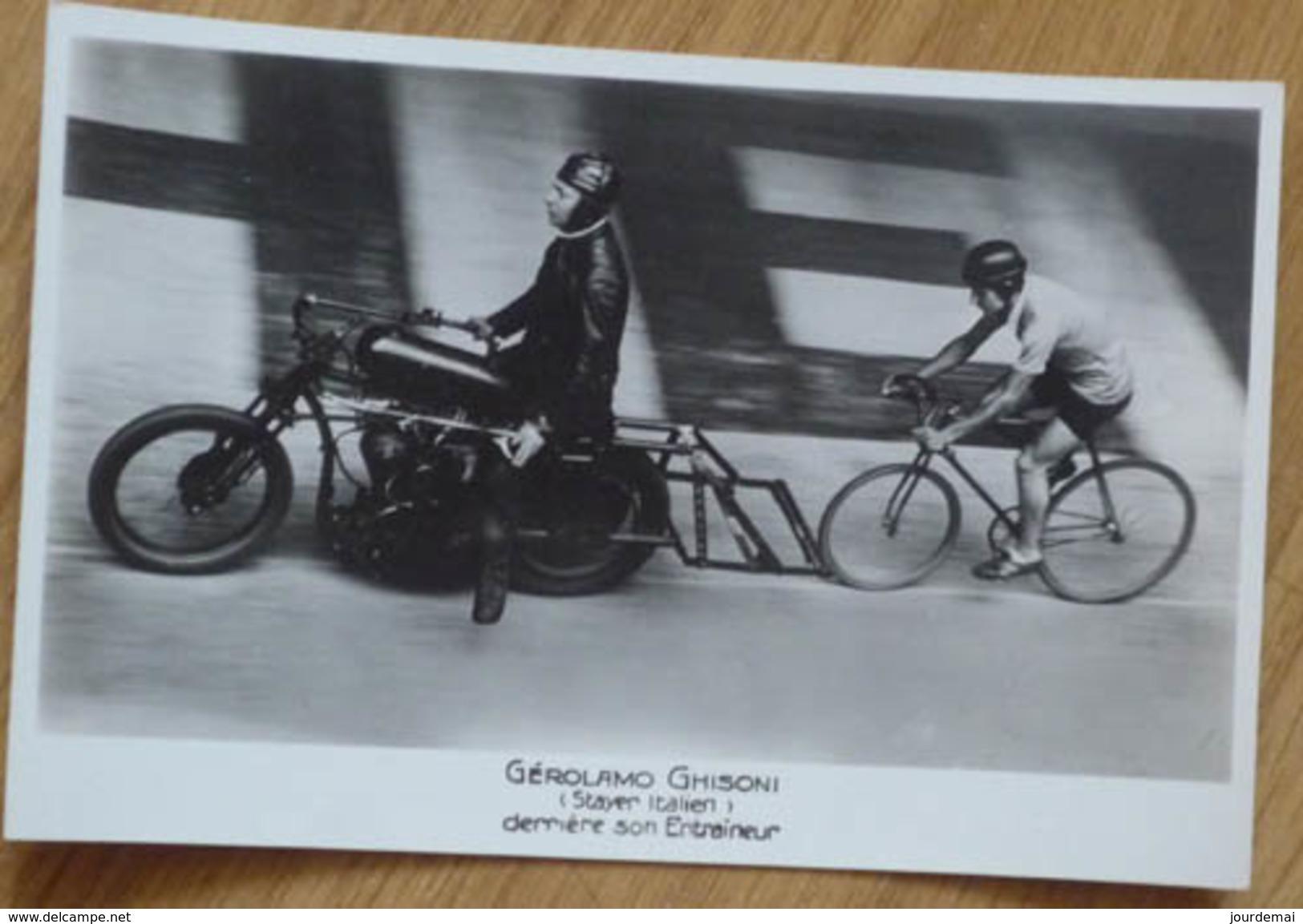 Cyclisme - Carte Postale Originale Gérolamo GHISONI Stayer Italien Derrière Son Entraîneur - Cyclisme