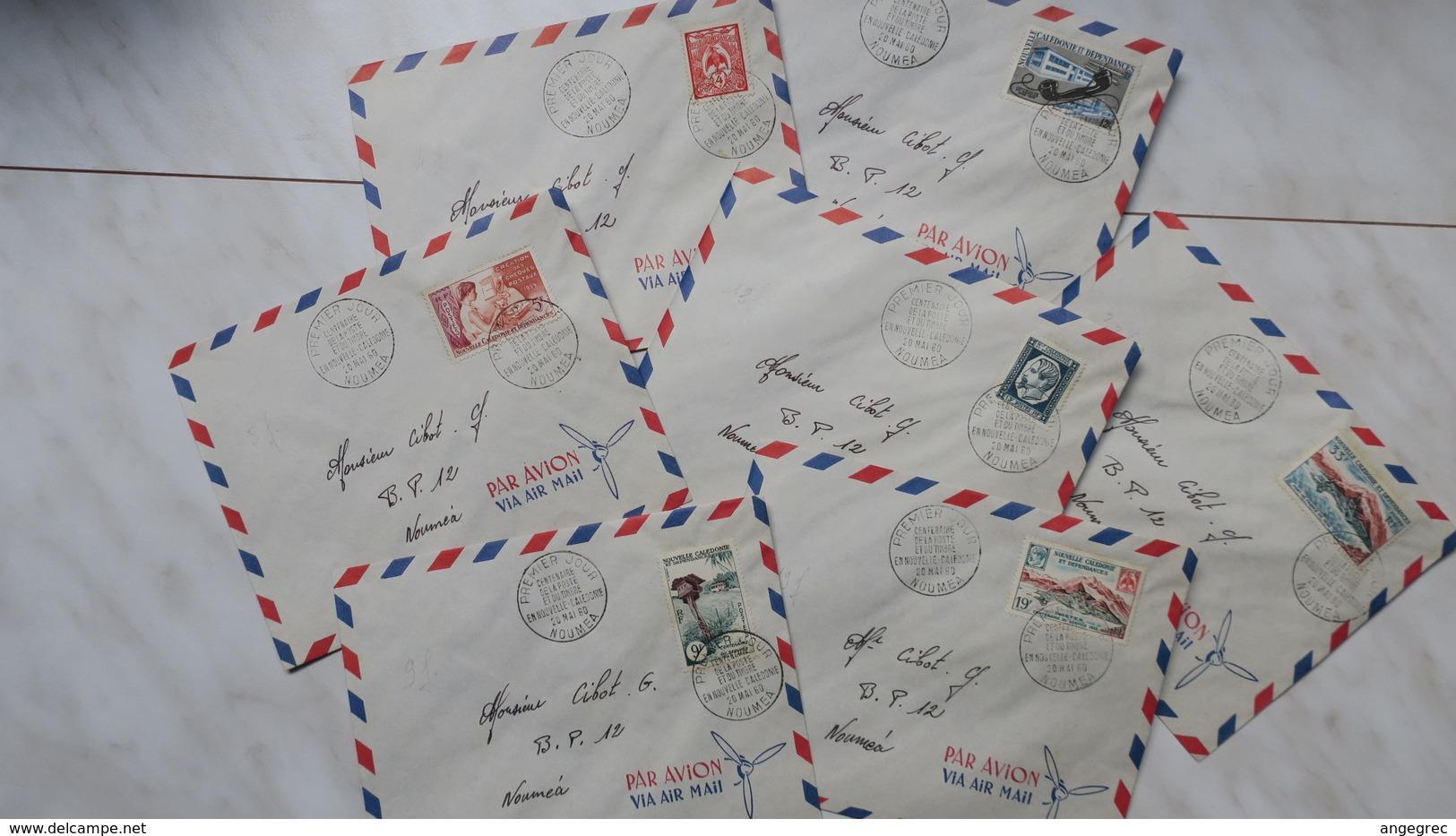 Nouvelle-Calédonie  N°  295 à 301 Du 20 Mai 1960  Oblitéré Série De 7 Lettres - FDC