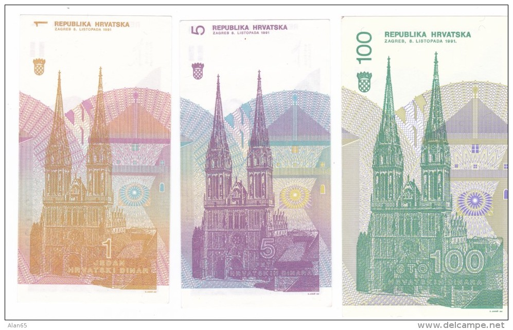 Lot Of 3 Croatia #16 #17 #20 1 Dinar 5 Dinar 100 Dinar 1991 Issue Banknotes Currency Money - Croatia