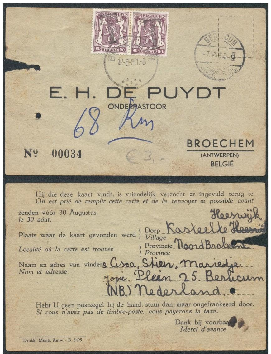 AO850 Carte Postale De Broechem à Berlicum Hollande 1950 - Cartes Souvenir