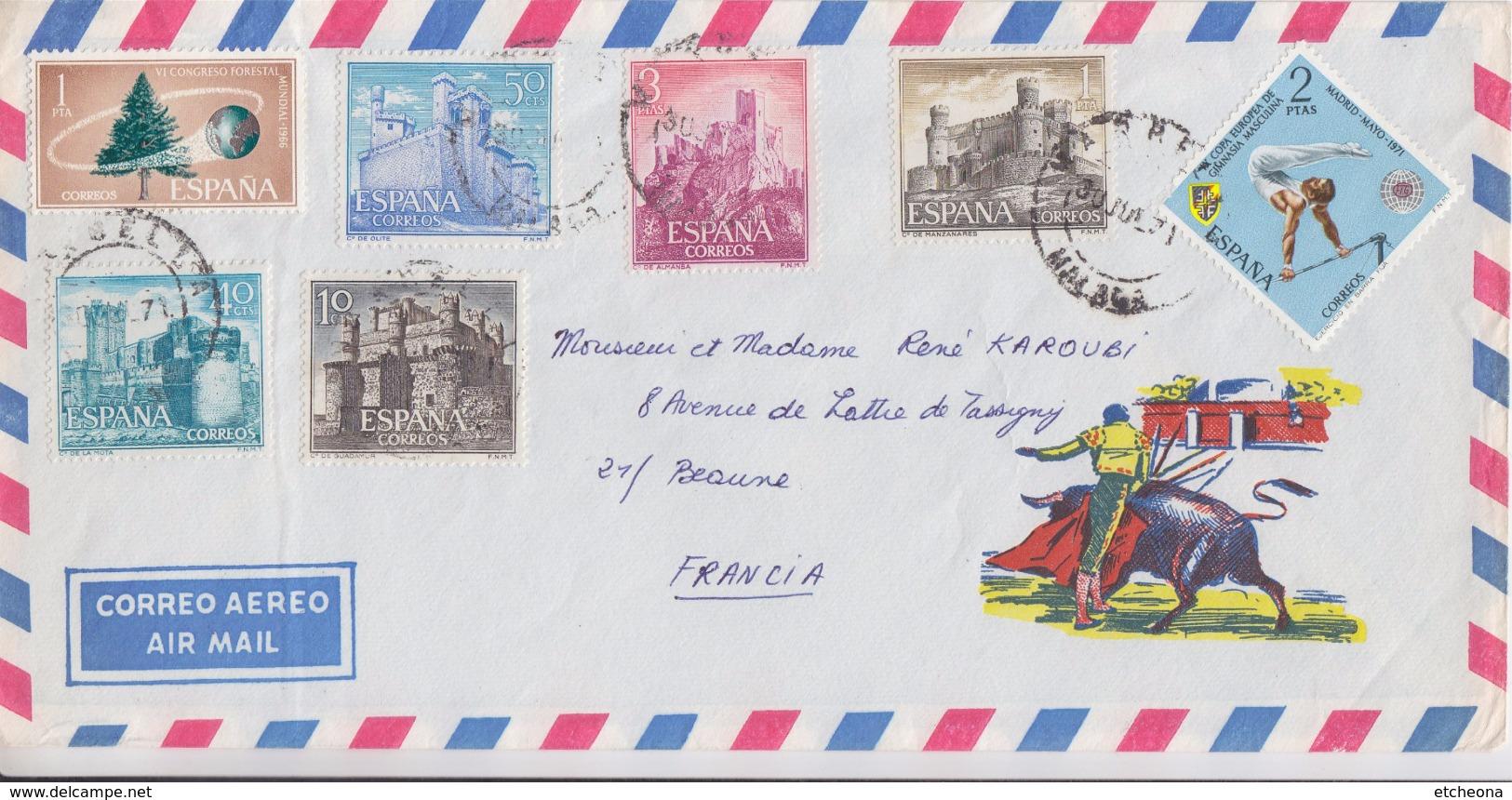 = Timbres Espagne 7 Sur Enveloppe Juillet 1971 - 1971-80 Cartas