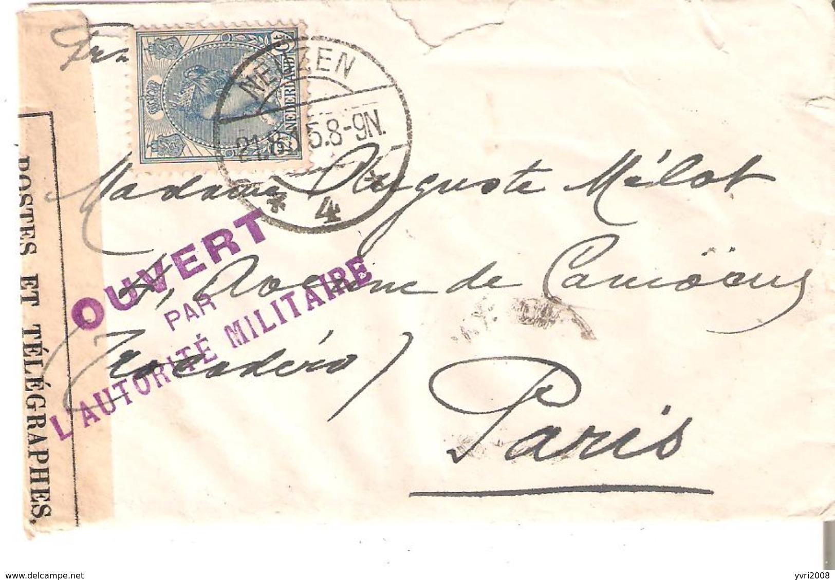 """Lettre De NEUZEN Du 21/8/1915 V/PARIS """" """"OUVERT Par L'Autorité Militaire"""" Controle Postal DIEPPE  Bde Cens. - Marcofilia"""