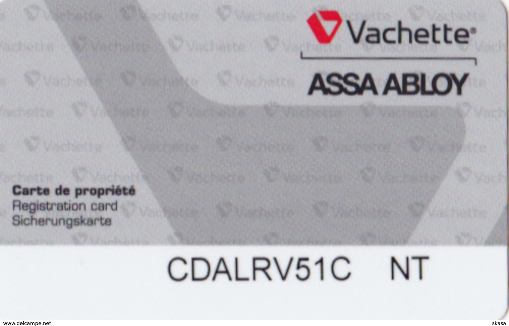 Carte Hotel Hostel Card Vachette ASSA ABLOY _0001 - Cartas De Hotels