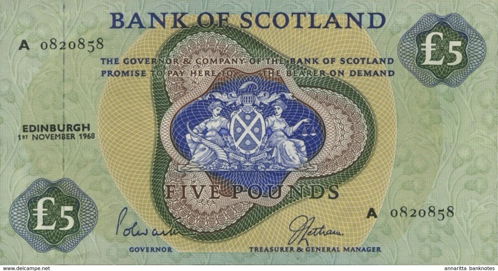 * SCOTLAND 5 POUNDS 1968 P-110a UNC RARE [SQ110a] - 5 Pounds
