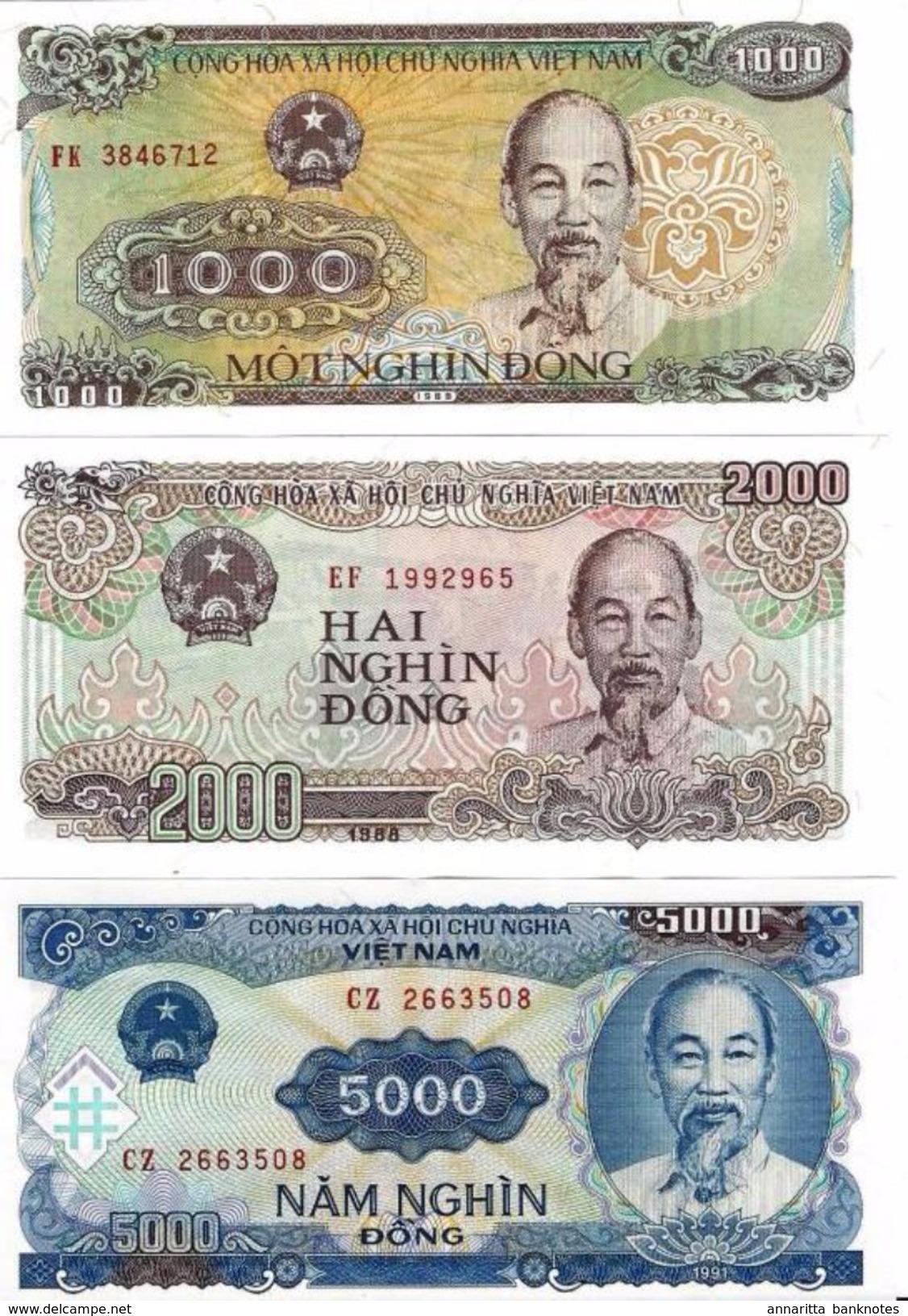 VIETNAM 1000 2000 5000 DONG 1988-1991 P-106,107,108 UNC SET [VN334-336] - Vietnam