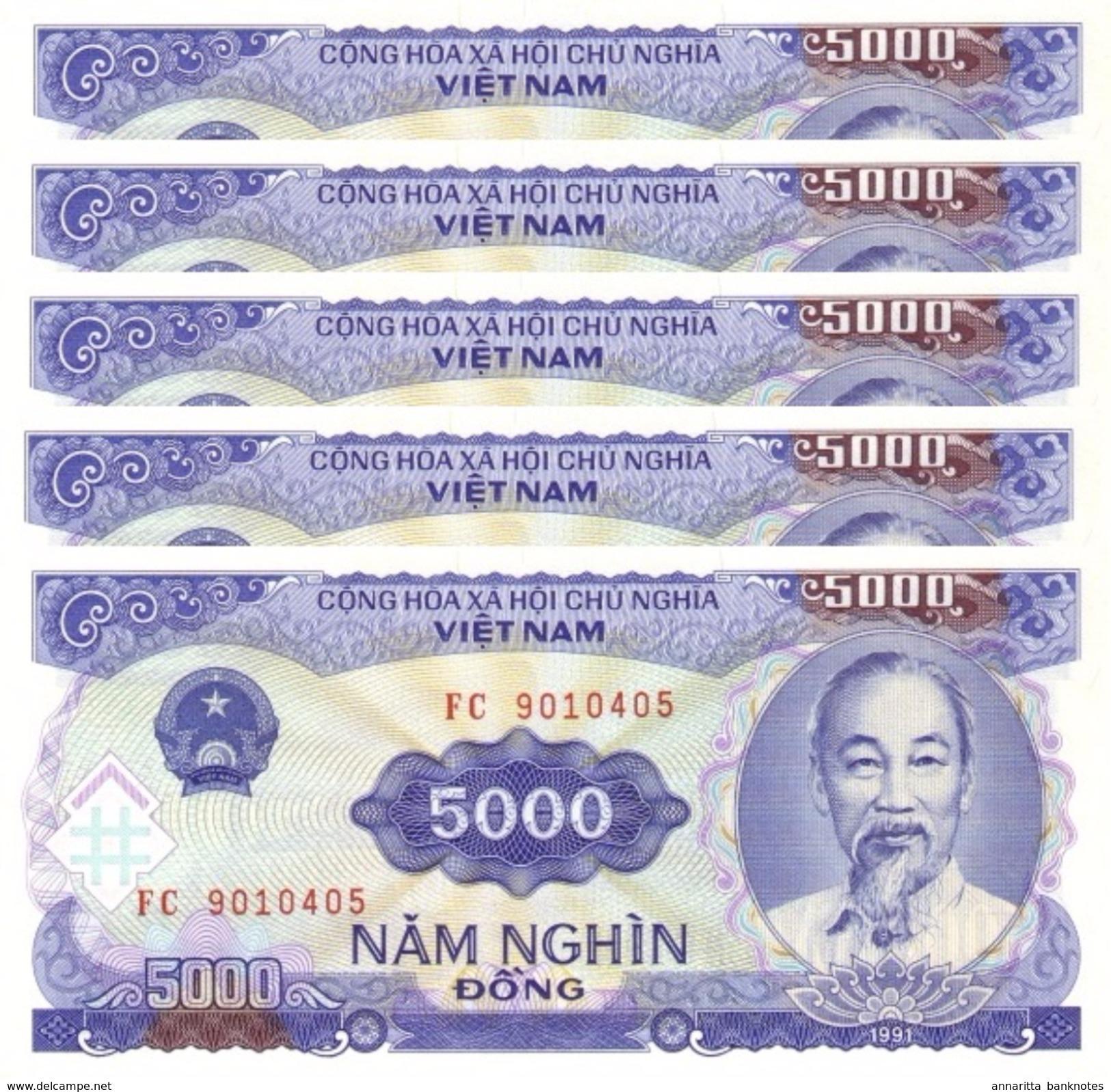 VIETNAM 5000 DONG 1991 (1993) P-108a UNC 5 PCS [VN336a] - Vietnam