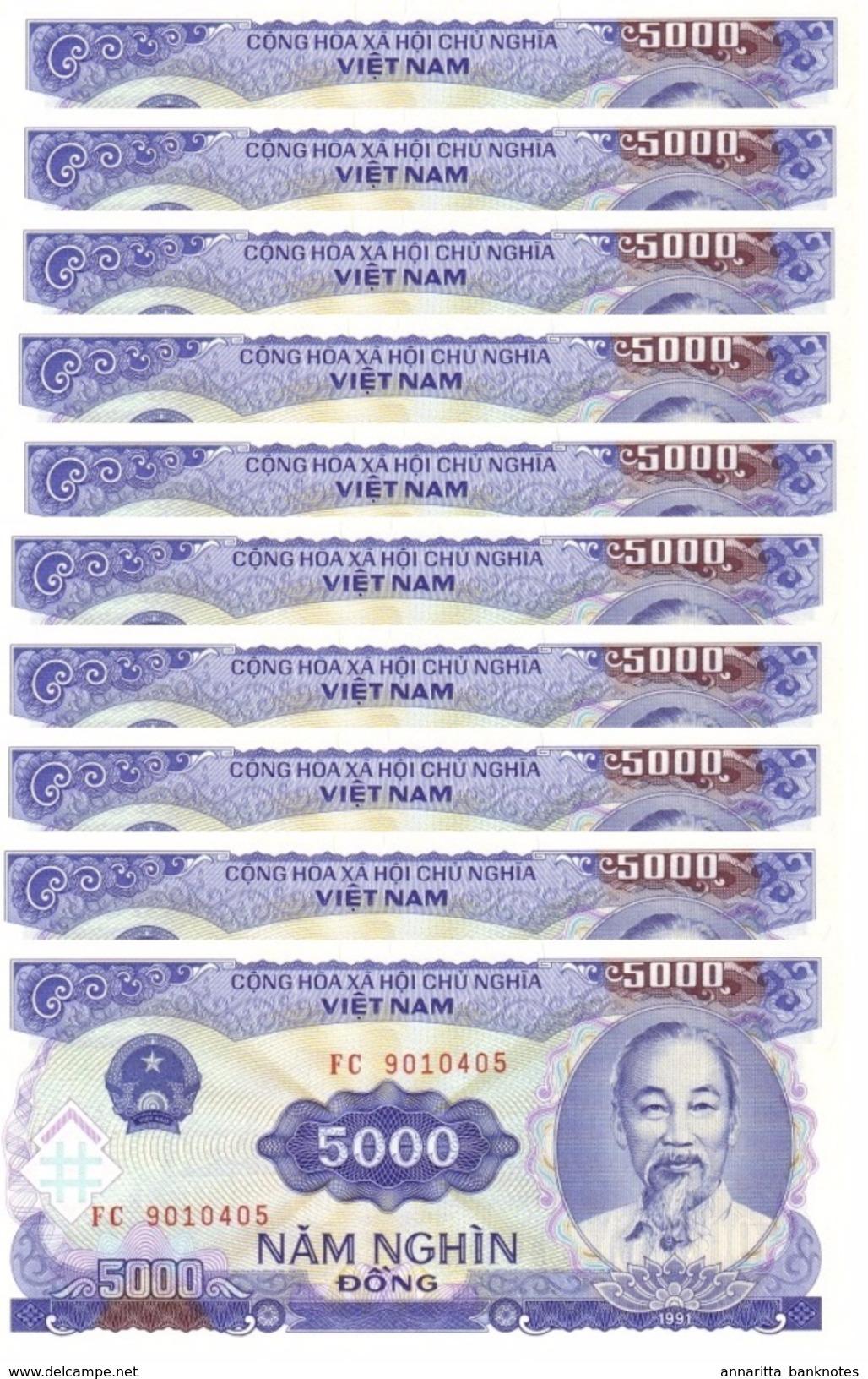 VIETNAM 5000 DONG 1991 (1993) P-108a UNC 10 PCS [VN336a] - Vietnam