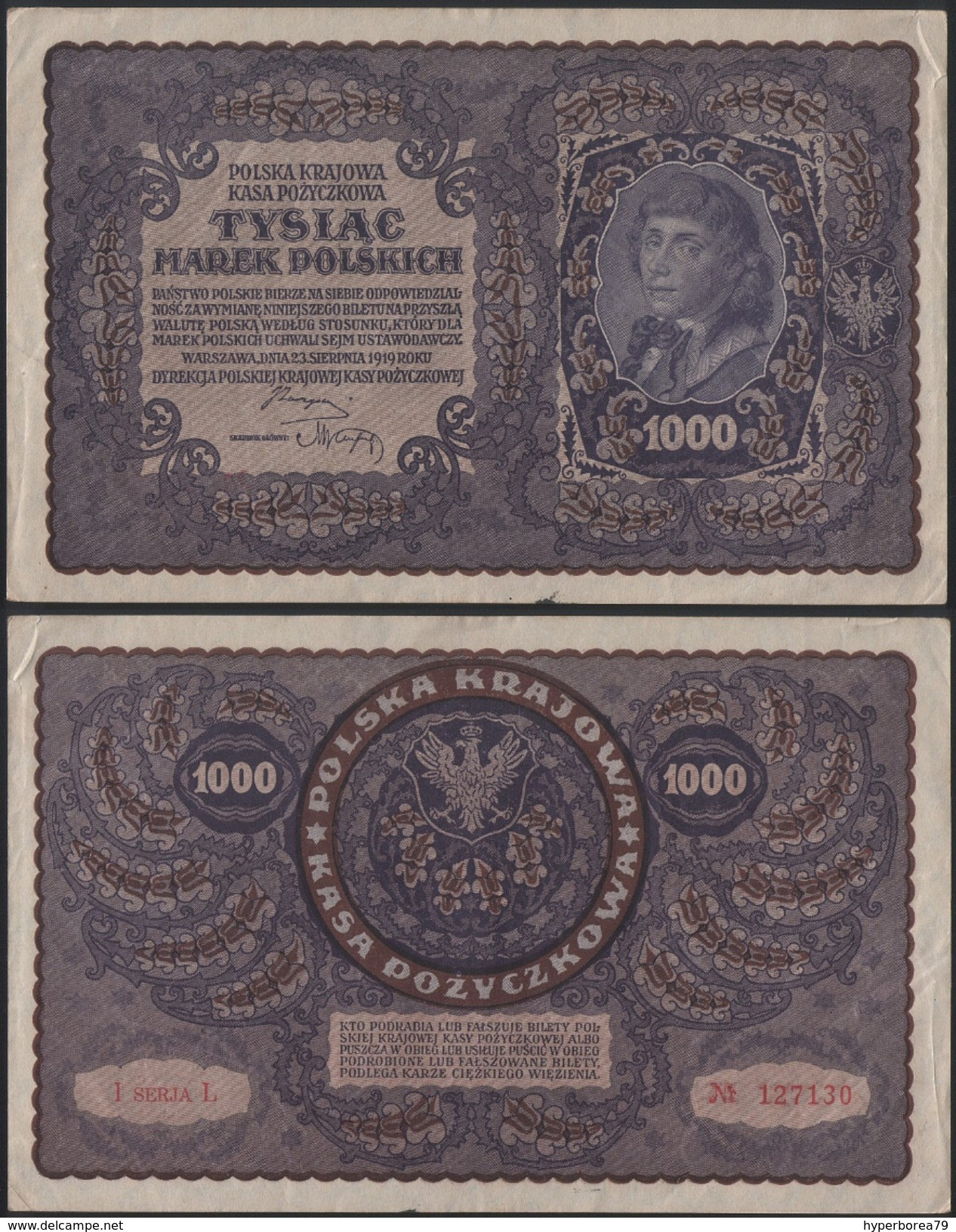 Poland P 29 - 1000 1.000 Marek 23.8.1919 - VF - Polen