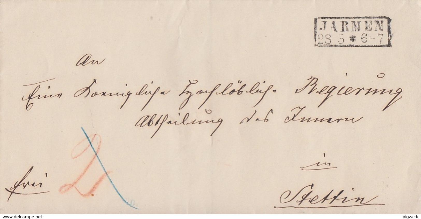 Preussen Brief R2 Jarmen 28.5. Gel. Nach Stettin - Preussen