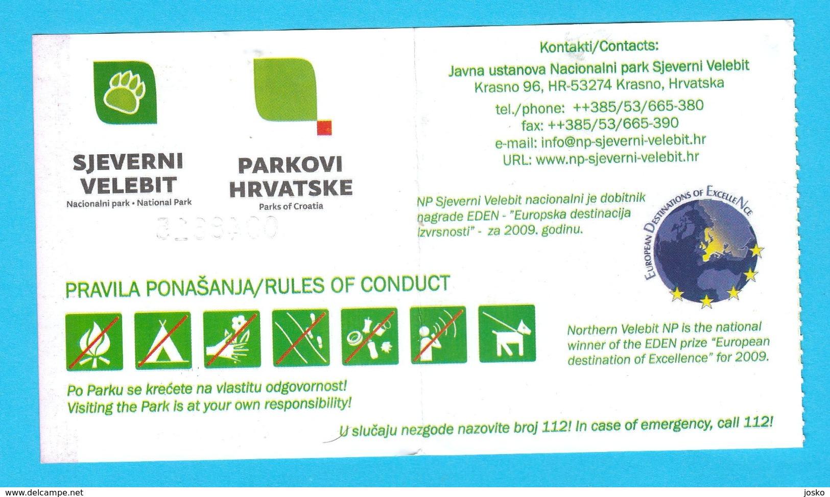 NP SJEVERNI VELEBIT ( North Velebit ) - Croatia National Park Used Ticket * Billet Biglietto Natural Park - Other Collections