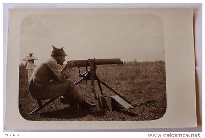 Foto Cartolina Militaria Mitragliere Inizi 1900 - Foto