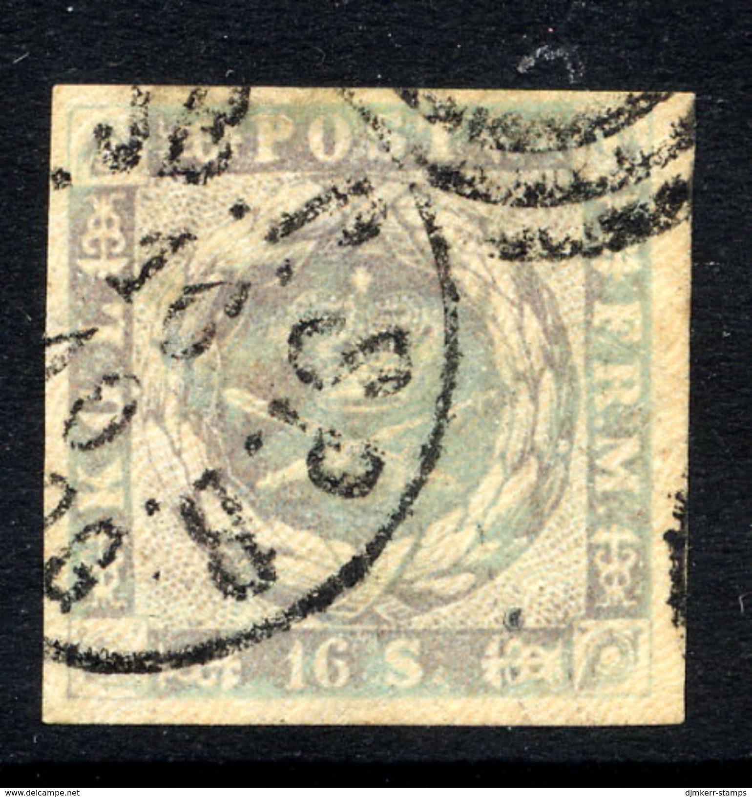 DENMARK 1857 16 Sk. Grey-lilac Used. - 1851-63 (Frederik VII)