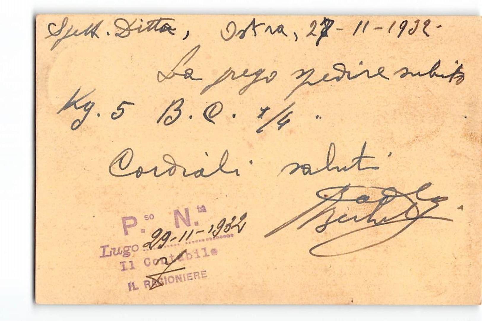 B517 OSTRA ROSSI BERLUTI ARMERIA X LUGO - 1900-44 Victor Emmanuel III
