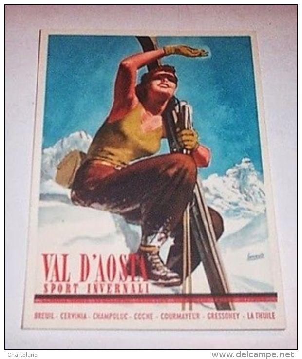 * Boccasile Cartolina Pubblicità Val D'Aosta 1940 - Pubblicitari