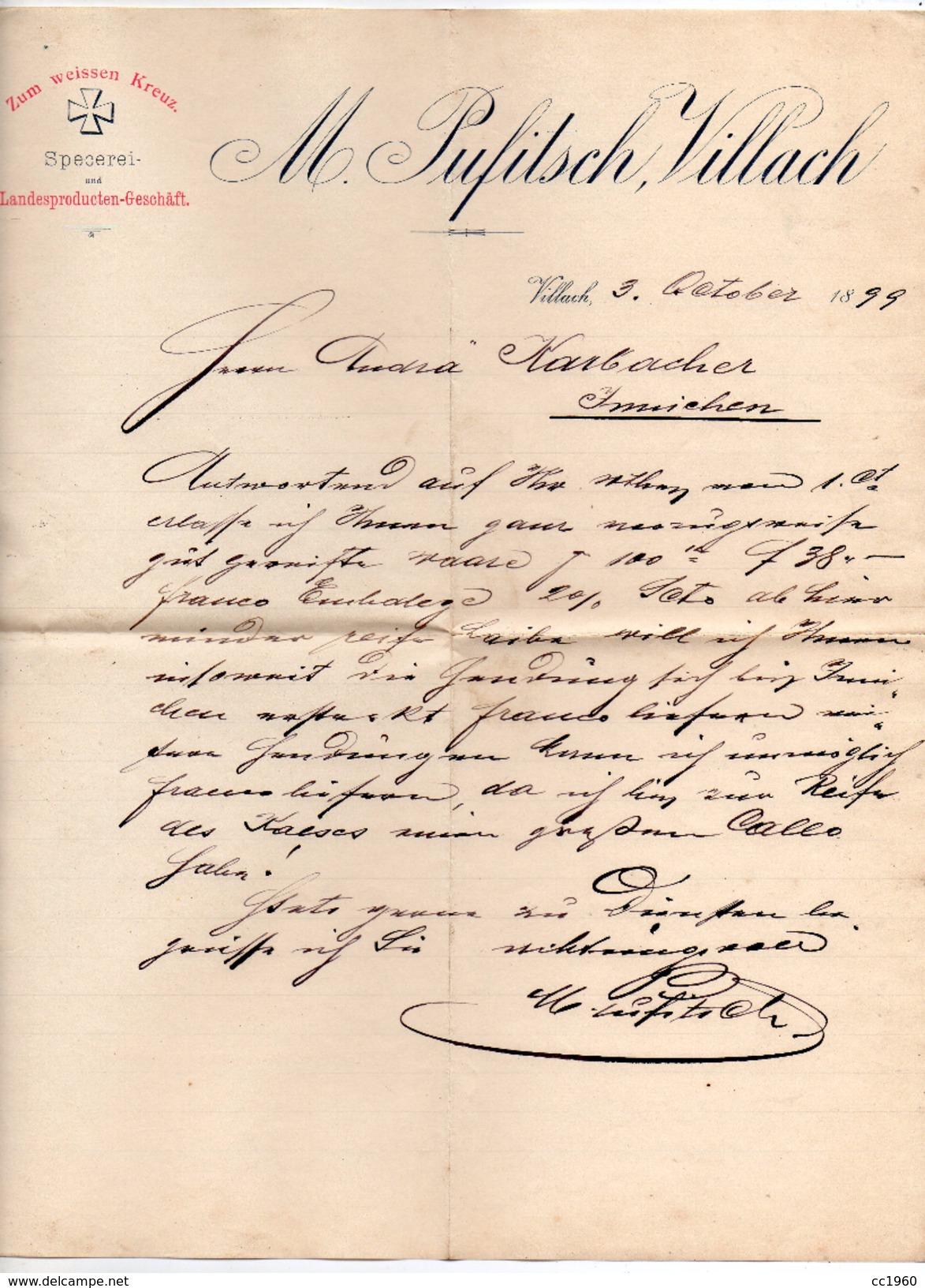 """Austria - Villach - Lettera Della Ditta """" M. Pufitsch """"  Datata  3 Ottobre 1899 - (FDC4972) - Austria"""