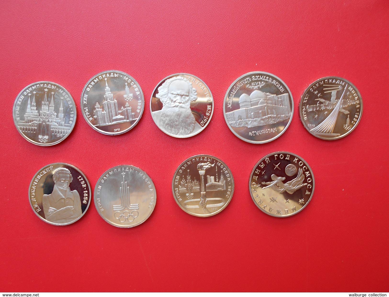 """RUSSIE MODERNE BEL ASSORTIMENT 9 MONNAIES(1-3-5 ROUBLES) QUALITE """"PROOF"""" - Monnaies & Billets"""