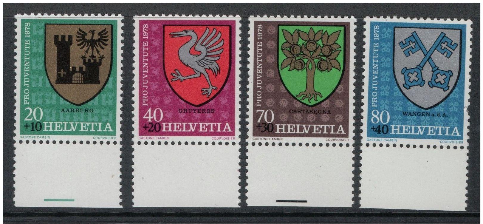 Switzerland 1977 Wild Roses Set ScB451 - 4 4 Stamps MNH - Suisse