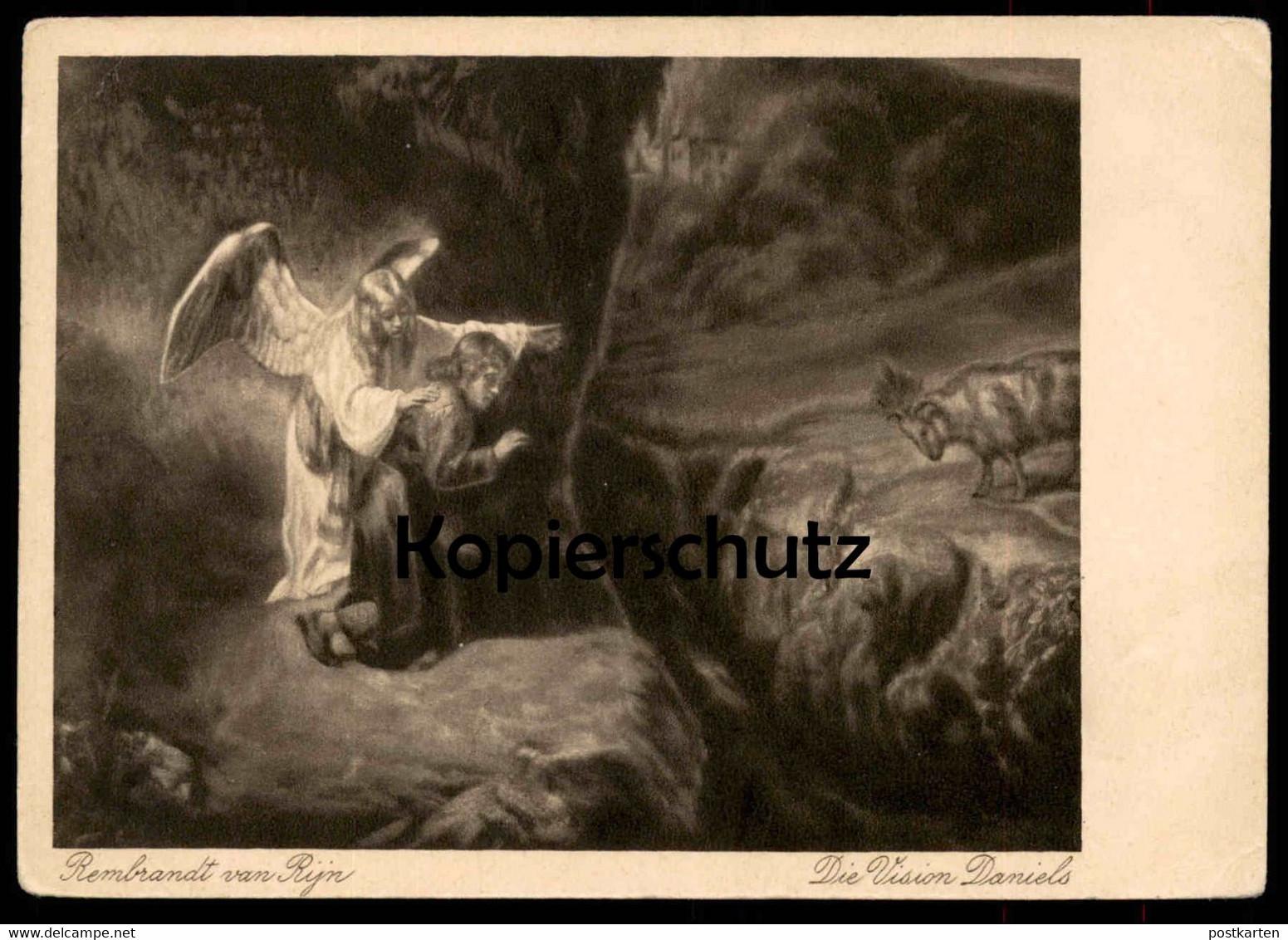 ALTE POSTKARTE REMBRANDT VAN RYN DIE VISION DANIELS Engel angel ange cpa Ak Ansichtskarte postcard