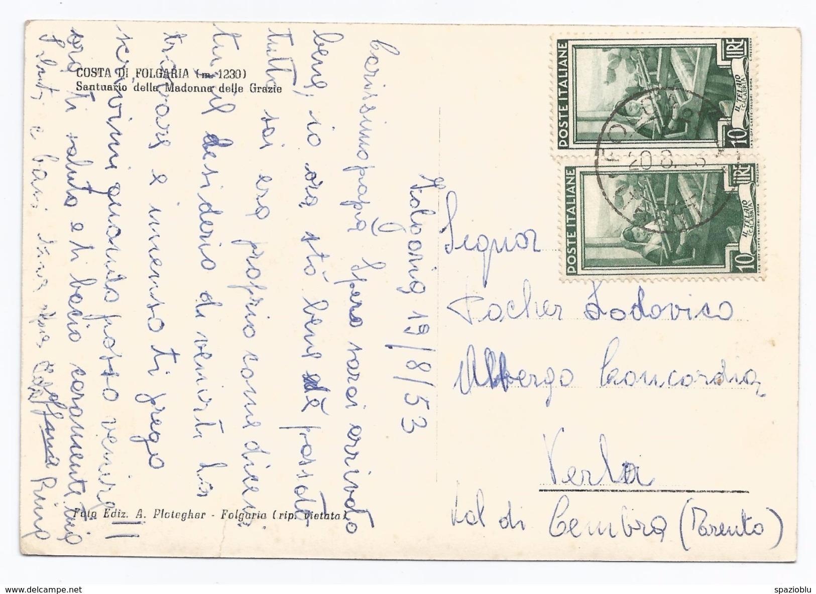 1953, Folgaria - Costa - Santuario Della Madonna Delle Grazie. - Chiese E Conventi