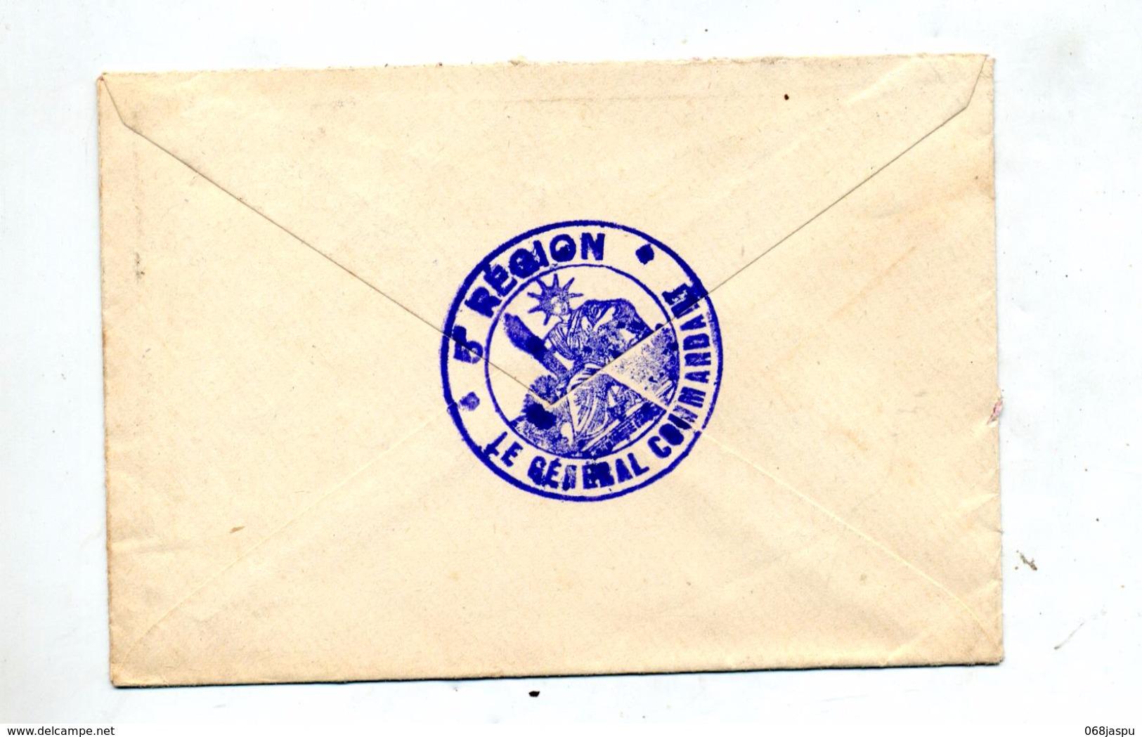 Lettre Franchise Militaire Cachet Orleans + 5ieme Region - Marcophilie (Lettres)