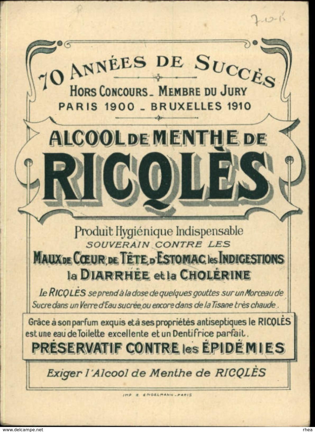 CHROMOS - Pub Pour Alcool RICQLES - Croisière - Illustré Par PREJELAN - Chromos