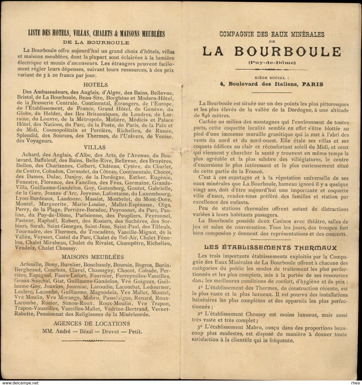 DEPLIANT TOURISTIQUE - LA BOURBOULE (6 Pages) - Dépliants Touristiques