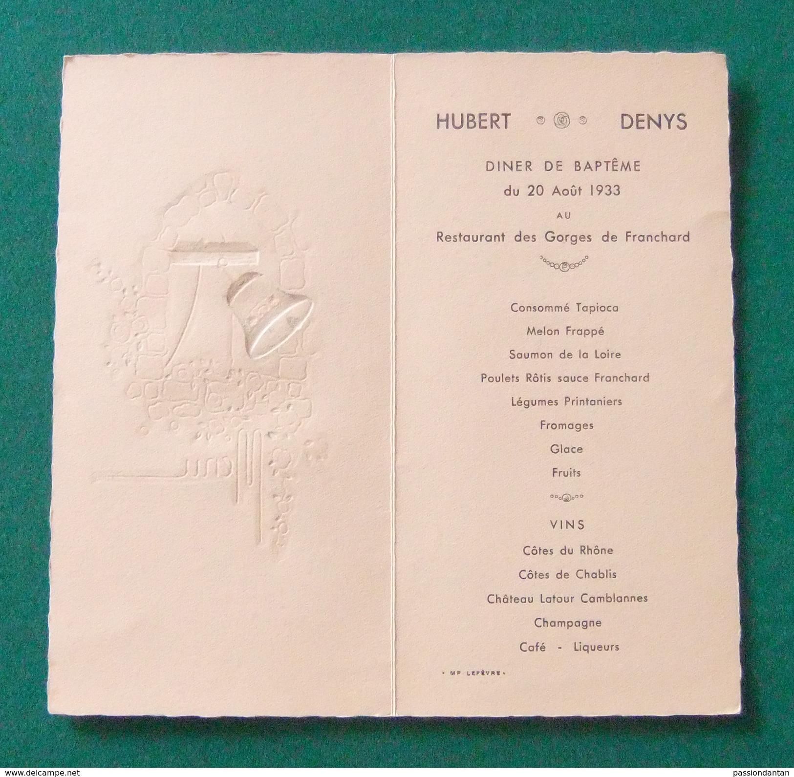 Menu De Dîner De Baptême Organisé En 1933 Au Restaurant Des Gorges De Franchard à Fontainebleau - Menus