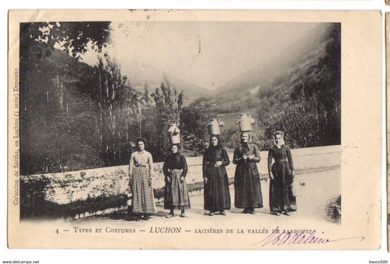 1902 LUCHON - Vue Animée Sur 5 LAITIERES De La VALLEE De LARBOUST - Luchon