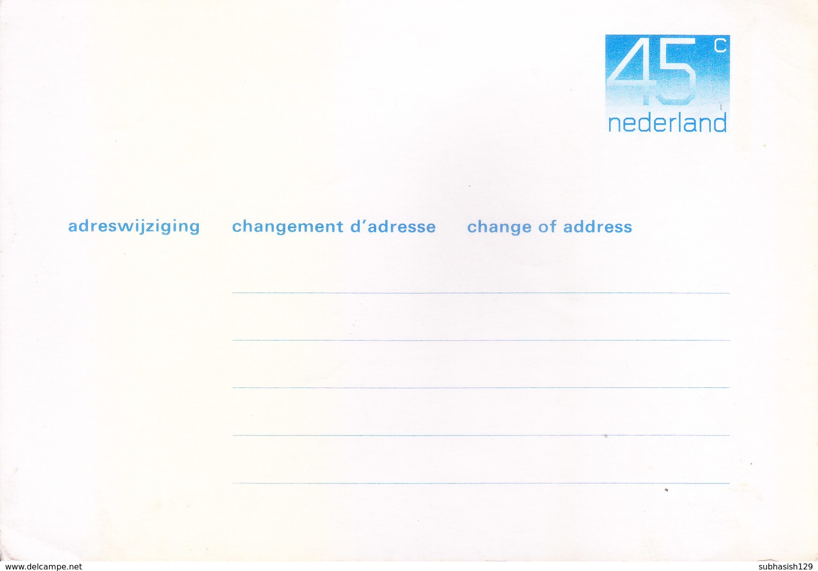 NEDERLAND UNUSED / MINT OFFICIAL POSTAL STATIONERY CARD FOR CHANGE OF ADDRESS - Postal Stationery