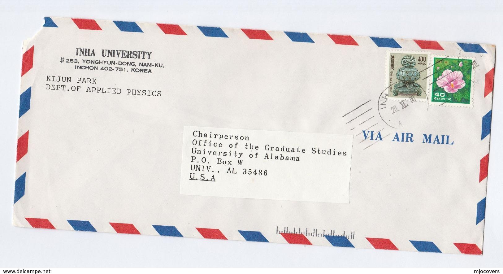 1990 Air Mail SOUTH KOREA  Inha UNIVERSITY COVER Physics Dept ,  Flower Stamps - Korea, South