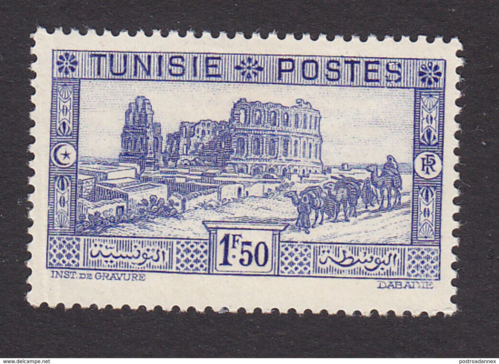 Tunisia, Scott #137, Mint Hinged, Roman Ampitheater, Issued 1931 - Unused Stamps