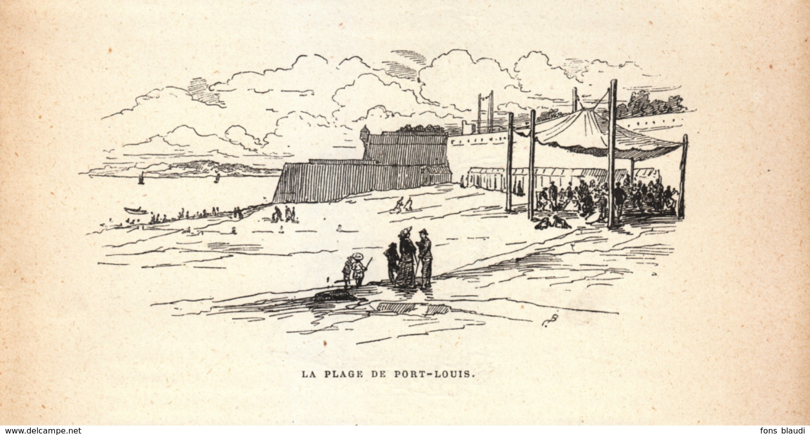 Vers 1890 - Gravure Sur Bois - Port-Louis (Morbihan) - La Plage - FRANCO DE PORT - Estampes & Gravures