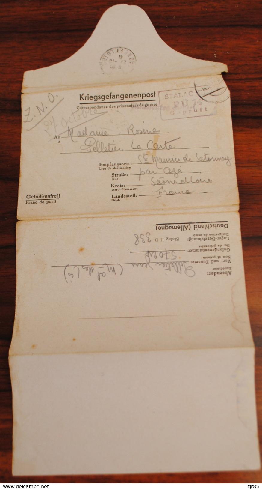 LETTRE CORRESPONDANCE DES PRISONNIERS DE GUERRE STALAG  1941 - Marcofilie (Brieven)