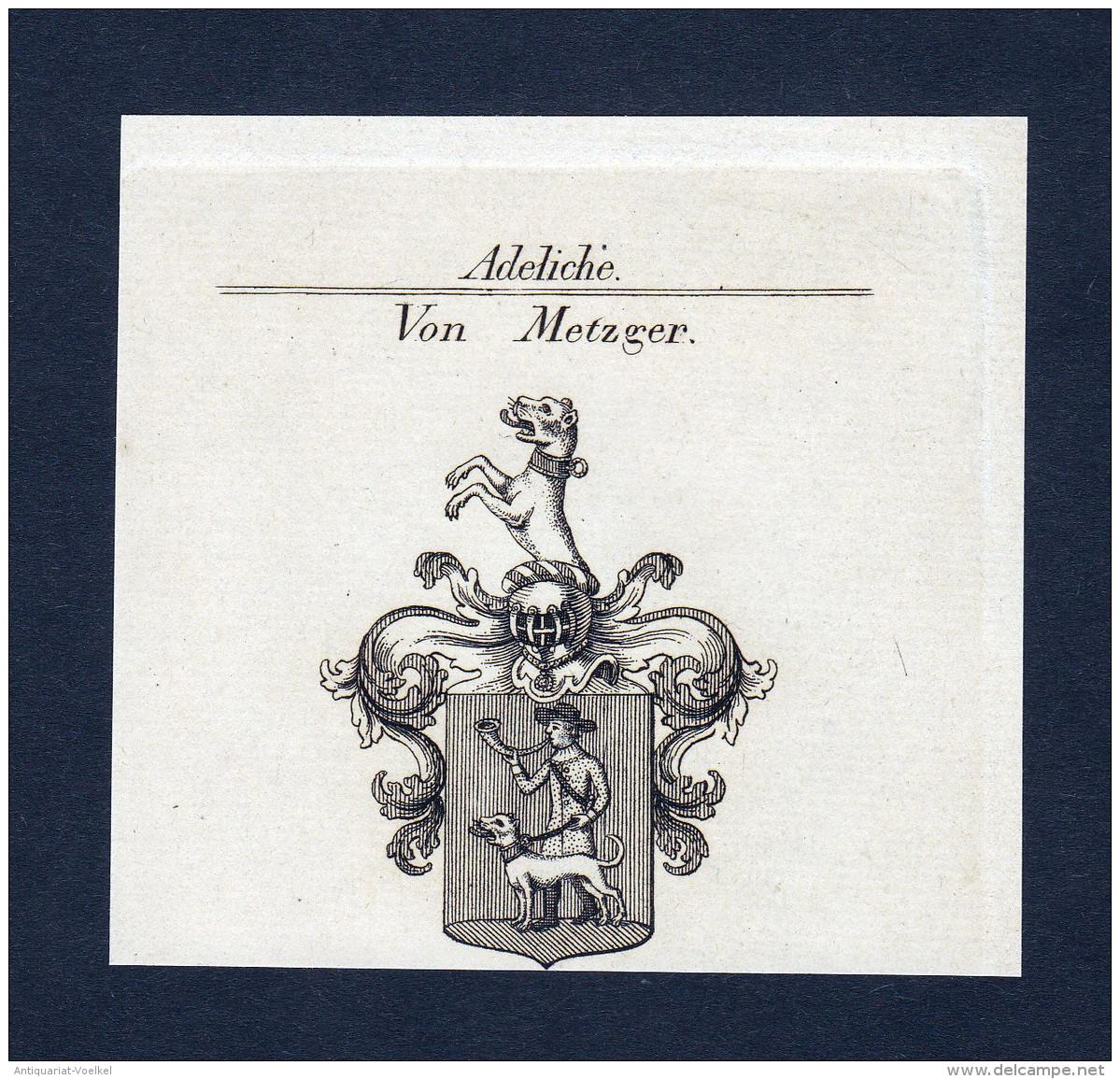 """""""Von Metzger"""" - Metzger Wappen Adel Coat Of Arms Kupferstich Antique Print Heraldry Heraldik - Stiche & Gravuren"""