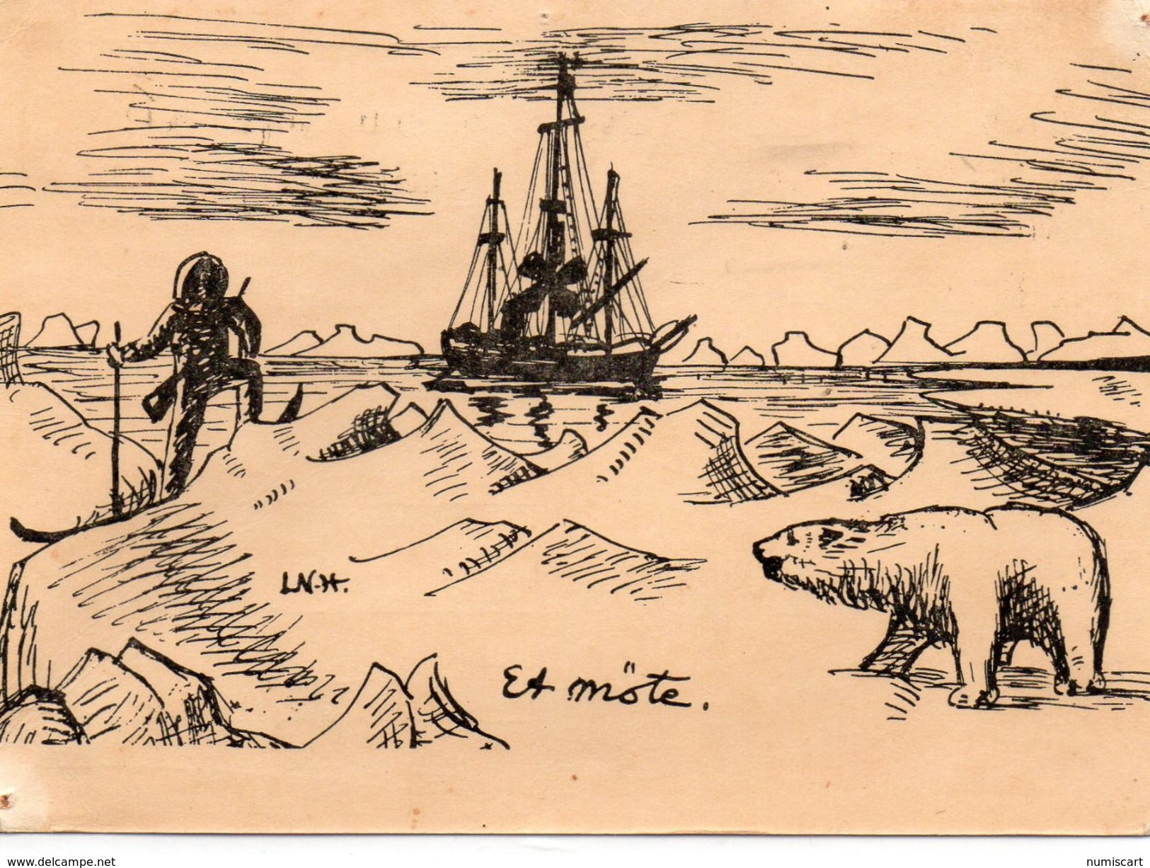 TAAF Terres Australes Antarctiques Françaises Paul-Emile Victor Ours Bateau Illustration - TAAF : Terres Australes Antarctiques Françaises
