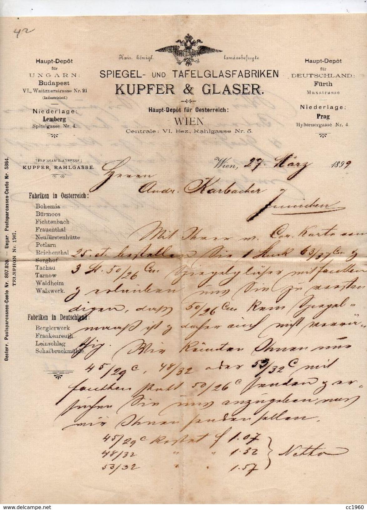 """Austria - Vienna - Lettera Della Ditta """" Kupfer & Glaser """"  Datata  27 Marzo 1899 - (FDC4981) - Austria"""