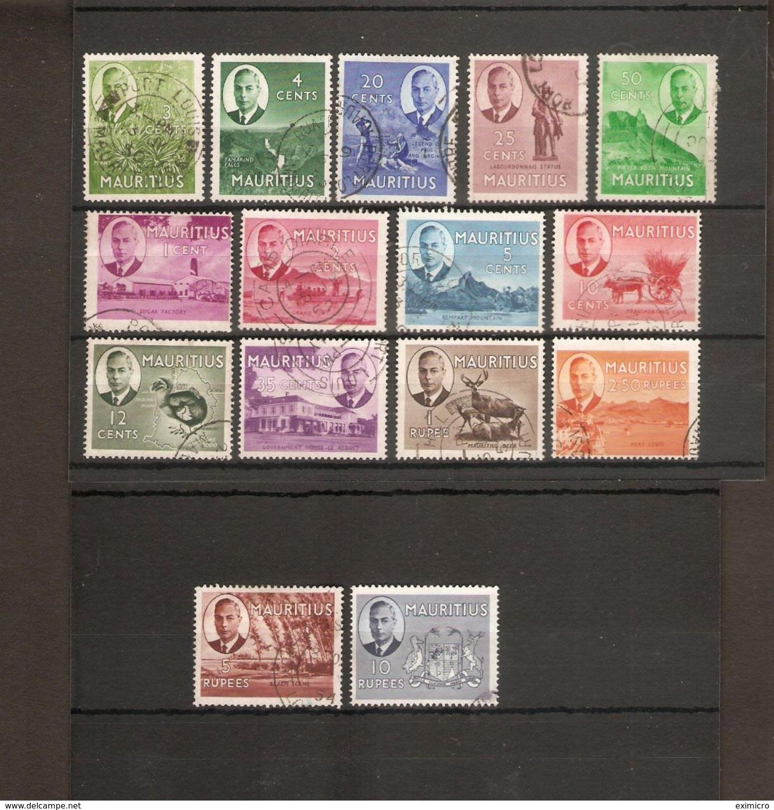 MAURITIUS 1950 SET SG 276/290 FINE USED  Cat £85 - Mauritius (...-1967)